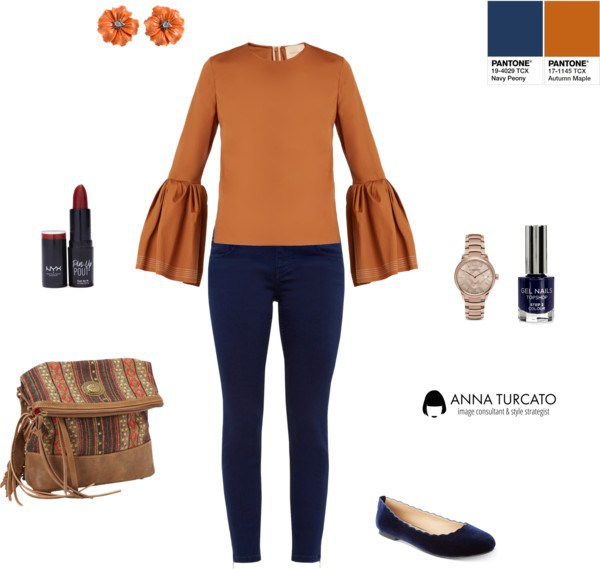 Anna Turcato navy peony autumn maple blue skinny jeans