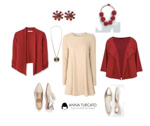 Red and cream di annaturcato contenente beaded necklaces