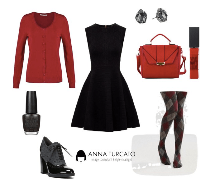 The black dress di annaturcato contenente red handbags