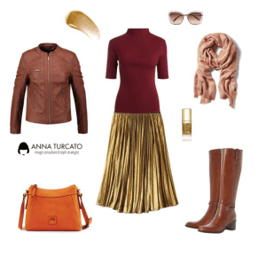 The gold pleated skirt by annaturcato featuring a cross body