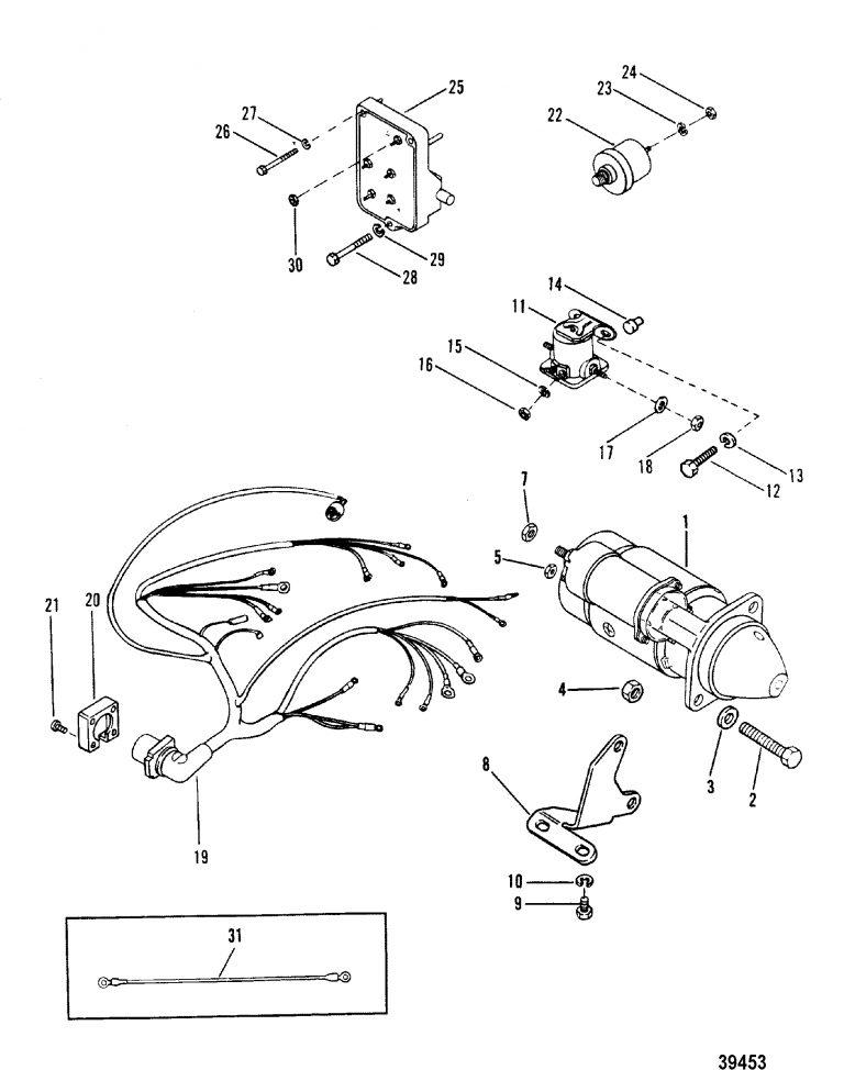 Starter Motor And Wiring Harness For Mercruiser 165