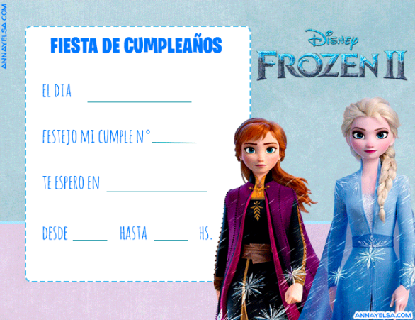 Frozen 2 Invitaciones de Cumple