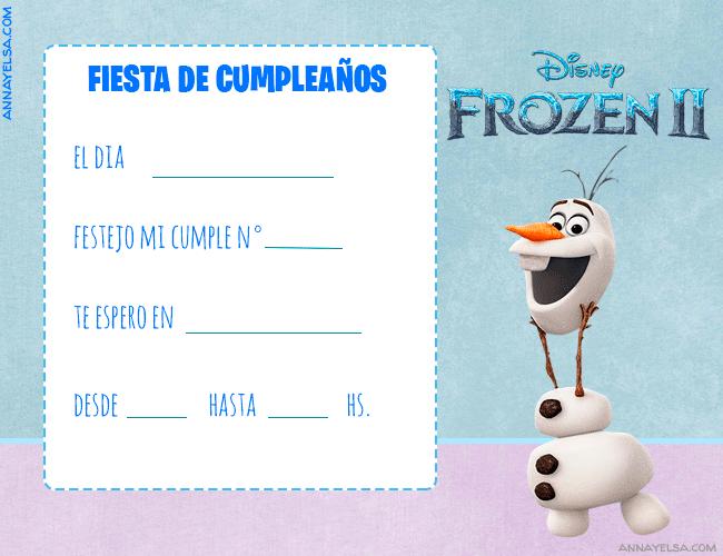 Olaf Invitaciones de Cumpleanos Frozen 2