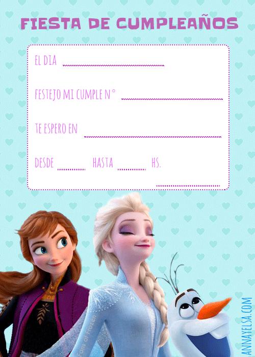 Invitaciones Fiesta Frozen II Elsa Anna Olaf