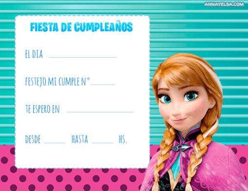 Convite Anna Frozen Invitaciones de Cumple