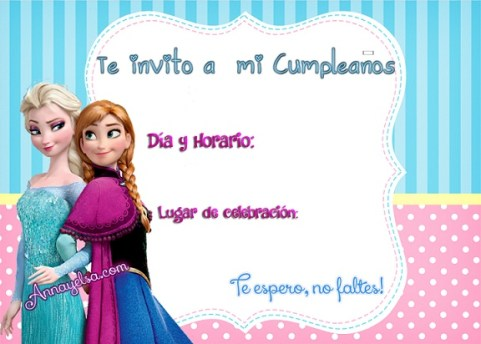 Invitaciones de Frozen para cumpleaños, Tarjetas de Cumpleaños de Frozen, Fie