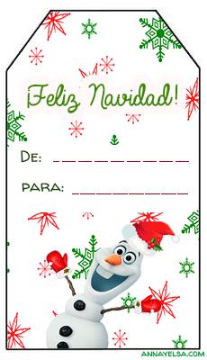 Frozen Olaf Tarjetitas de regalo Navidad