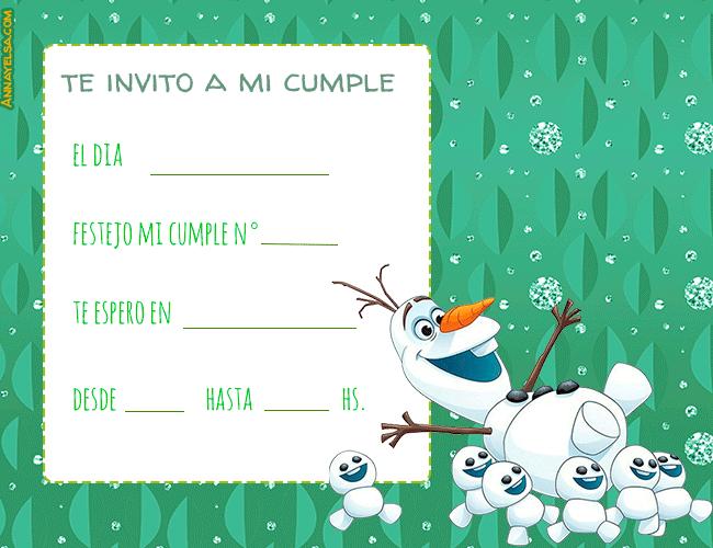 Invitaciones de Olaf cumpleanos