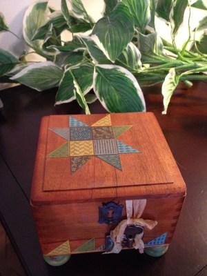 ANN BUTLER FAUX QUILTED KEEPSAKE BOX