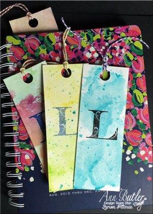 Monogram Watercolor Bookmarks