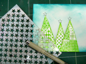 Christmas Card with Ann Butler Faux Quilting Stamps and Ink
