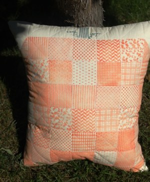Faux Quilted Pumpkin Pillow