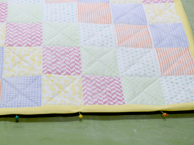 Hand Stamped Quilted Barbie Blanket and Pillow