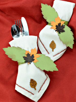 Thanksgiving Napkins Stamped Stitched