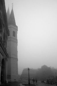 St. Louis Cathedral in the morning fog. Photograph by Ann Fisher