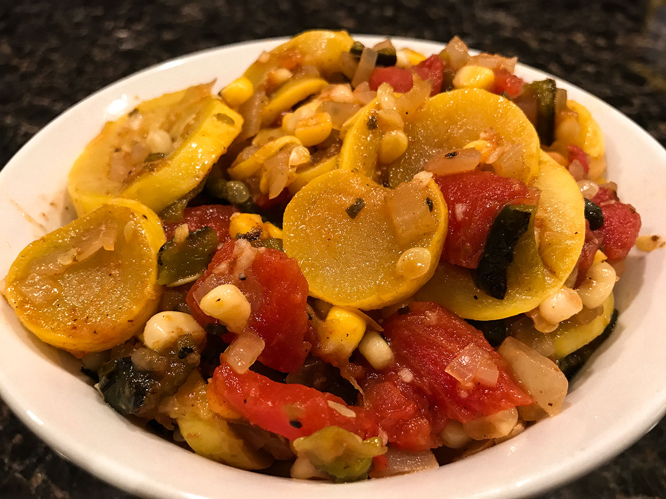 Squash and Corn with Roasted Poblano Peppers