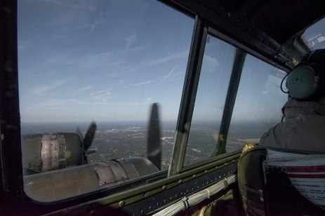 View from the cockpit of the B-17 in flight.