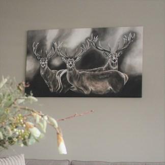Schilderij landelijk herten reproductie stoer sober kunst