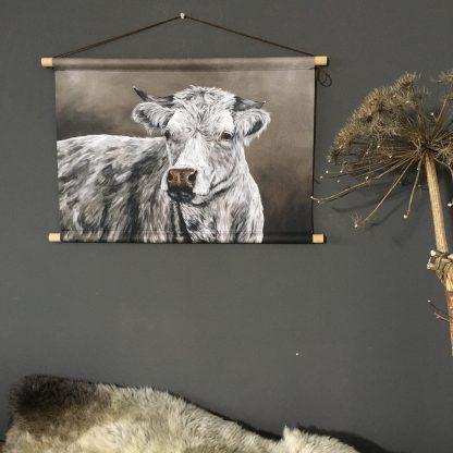 Wanddoek koe landelijk schilderij