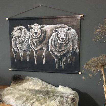 Wanddoek schapen landelijk schilderij reproductie schaap