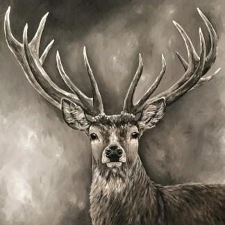 Schilderij hert gewei stoer landelijk