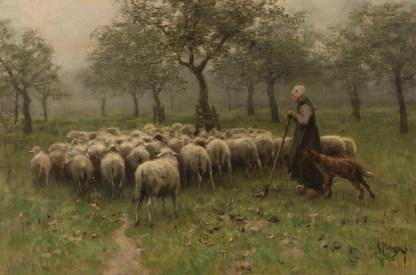 Reproductie schilderij herder schapen herderin anton