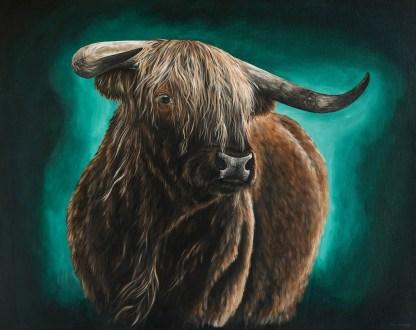Schotse hooglander geschilderd canvas schilderij