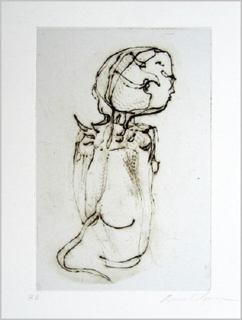 Gravure contemporaine -Annimal cerebral- Theme Moucharabieh Anne Carpena