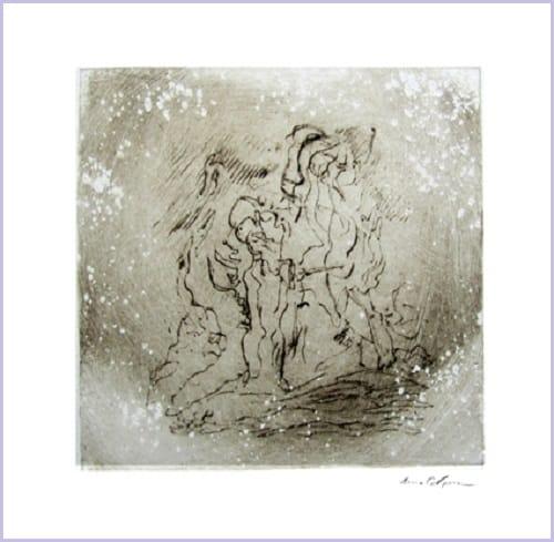 Gravure contemporaine -Ecume de brume- Theme Le presae imobile Anne Carpena