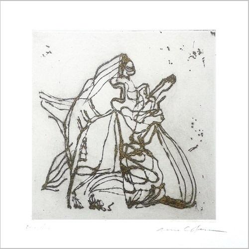 Gravure contemporaine-L'attente-la-prière- theme Papiers fantomes Anne Carpena