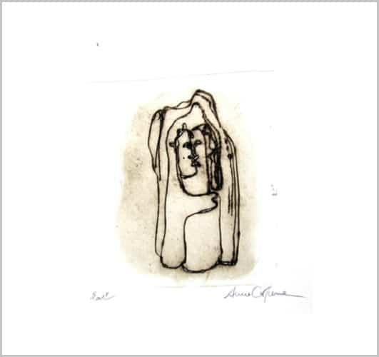 Gravure contemporaine -Le silence de glace- Theme Le presae imobile Anne Carpena