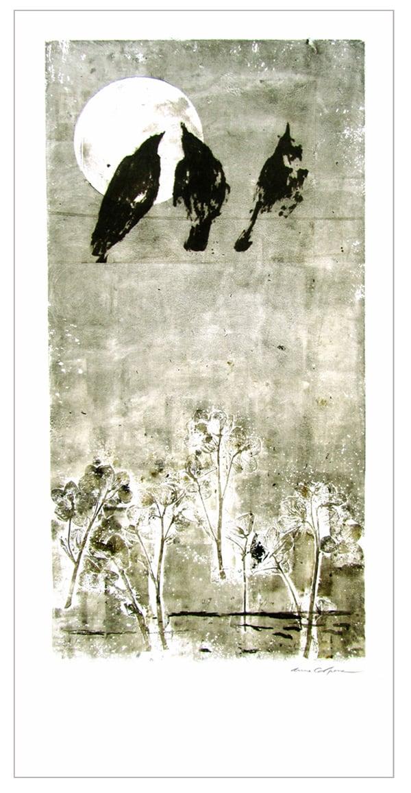 Gravure contemporaine -Ode a lalune- Theme Le presae imobile Anne Carpena