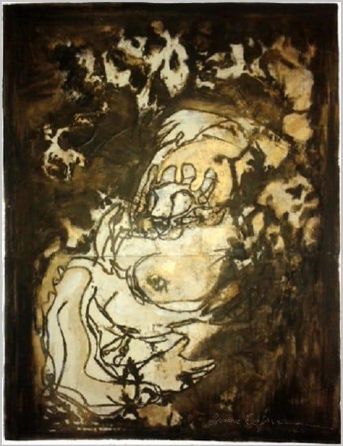 Gravure contemporaine -Voluptatem la devoration- Theme Moucharabieh Anne Carpena
