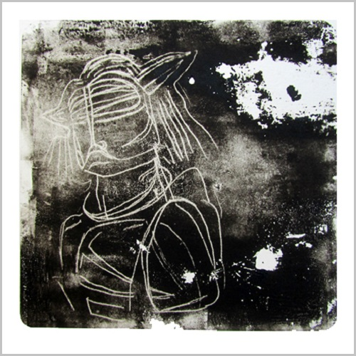 Gravure-contemporaine-jeune chef- theme confrerie masquee Anne Carpena