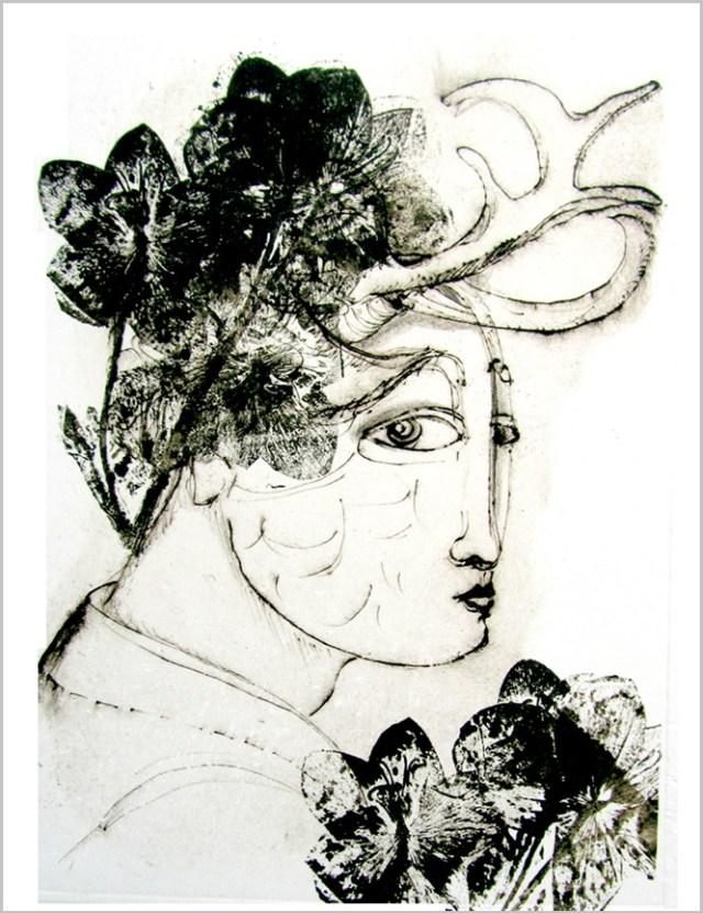 Gravure contemporaine-Seraphita-Theme presage imobile Anne Carpena