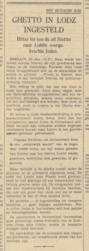 Anuncio en el períodico 'Algemeen Handelsblad' en el cual se menciona la creación del gueto en Łódź (Polonia). Además, se informa que muchos de los judíos deportados de Szczecin/Stettin (Alemania) a Lublin (Polonia) en febrero de 1940 están enfermos o fallecieron. 21 de marzo de 1940.