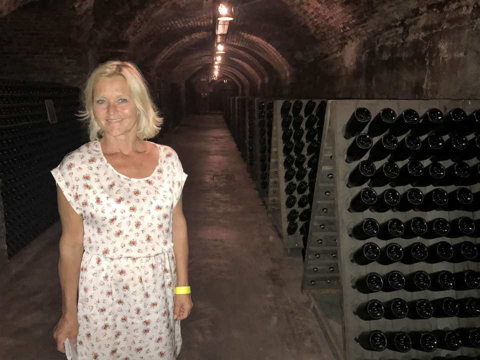 Wine tourist in Italy. Visiting Franciacorta in Lombardia, a sparkling pearl. It is a day of happiness.