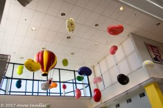 Colorful balloons in the entry.