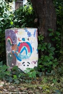 A whimsical trash can.