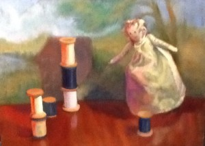 """Her Right to Work"" oil on oanel"
