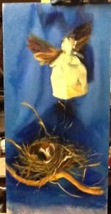 """Little Eva Leaves"" oil on panel"