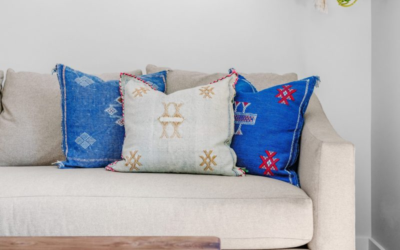 three pillows on a couch