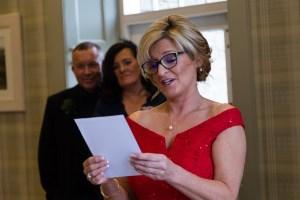 Bridesmaid reading a poem