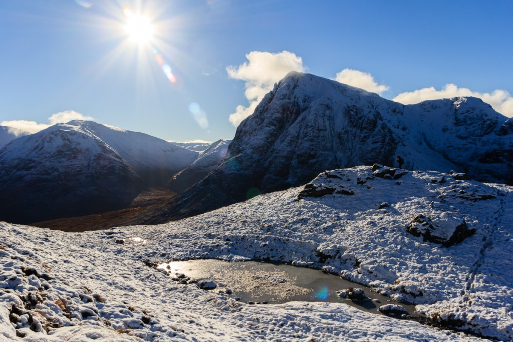 Buachaille Etive Mor, Glen Coe in winter as seen from Beinn aChrulaiste