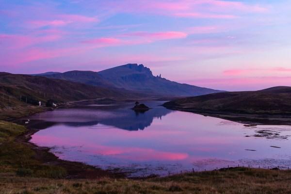 Storr reflecting on Loch Fada, Skye at sunrise