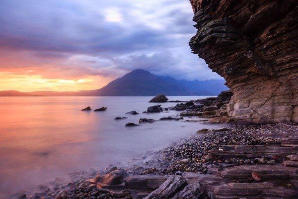 The sun lights up the rocks at Elgol, Skye during sunset