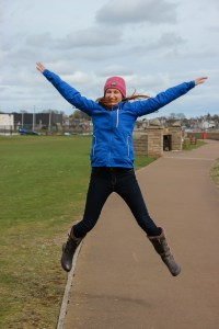 Anne Johnston jumping during 1-2-1 photography tuition in Carnoustie