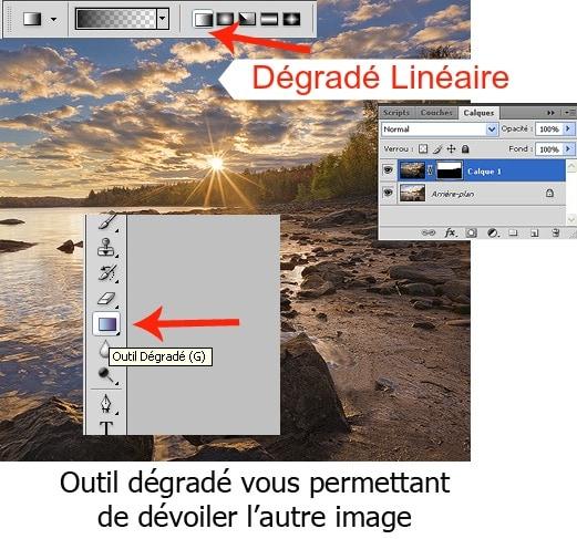 Outil dégradé - Fusionner deux images dans Photoshop