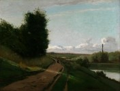 2934 PAINTINGS painting The Banks of the Marne Pissarro, Camille Jacob (1830 - 1903, French) 1864 oil on canvas French unframed: 819 x 1079 mm; framed: 1060 x 1315 mm Painting entitled 'The Banks of the Marne', by Camille Pissarro, 1864