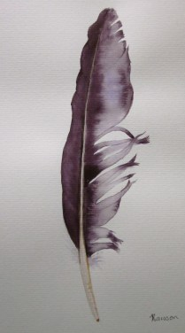 Deep purple feather. You can see the influence of the original colour in this feather. (Photo and art work copyright, Anne Lawson 2013)